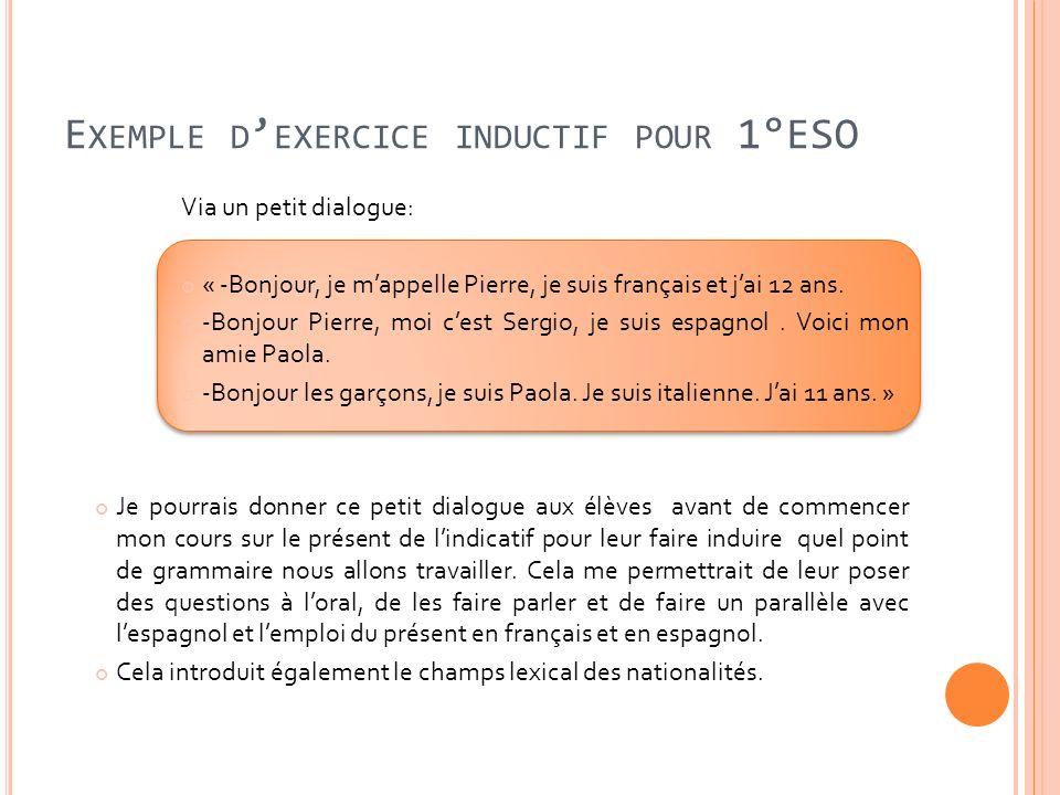 E XEMPLE D EXERCICE INDUCTIF POUR 1°ESO Via un petit dialogue: « -Bonjour, je mappelle Pierre, je suis français et jai 12 ans. -Bonjour Pierre, moi ce
