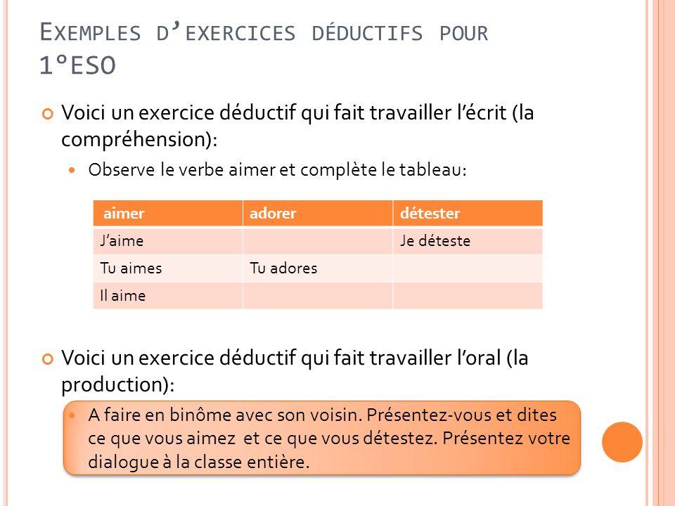 E XEMPLES D EXERCICES DÉDUCTIFS POUR 1°ESO Voici un exercice déductif qui fait travailler lécrit (la compréhension): Observe le verbe aimer et complèt