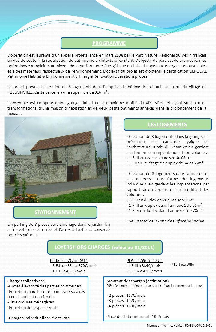 STATIONNEMENT LES LOGEMENTS PROGRAMME Mantes en Yvelines Habitat -FQ/SS le 06/10/2011 Lopération est lauréate dun appel à projets lancé en mars 2008 p