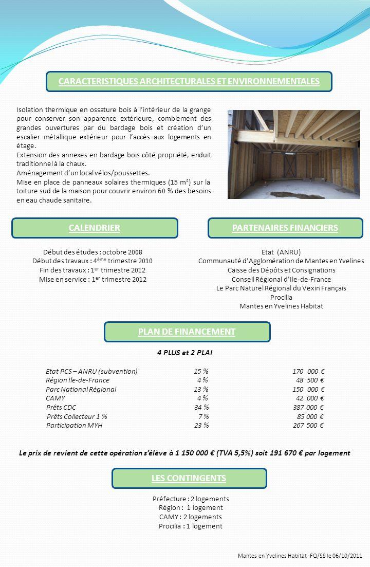 Mantes en Yvelines Habitat -FQ/SS le 06/10/2011 CARACTERISTIQUES ARCHITECTURALES ET ENVIRONNEMENTALES Isolation thermique en ossature bois à lintérieu