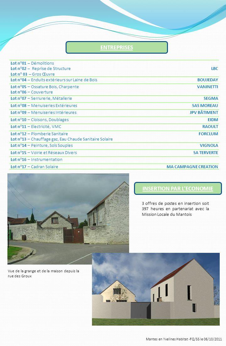 Mantes en Yvelines Habitat -FQ/SS le 06/10/2011 ENTREPRISES Lot n°01 – Démolitions Lot n°02 – Reprise de Structure Lot n° 03 – Gros Œuvre LBC Lot n°04
