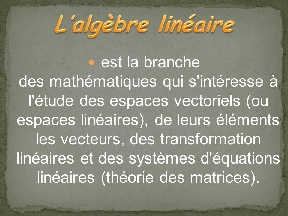 Introduction: Lalgébre linéaire Histoire du algébre linéaire Dates sur les mathématiques qui ont contribué au développement du algébre linéaire Applic