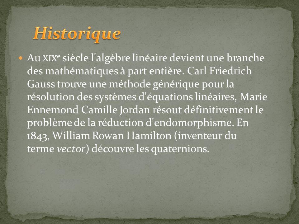 L'histoire de l'algèbre linéaire commence avec René Descartes qui le premier pose des problèmes de géométrie, comme l'intersection de deux droites, so