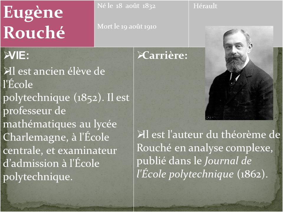 Eugène Rouché Joseph-Louis Lagrange Évariste Galois Kronecker Cappelli