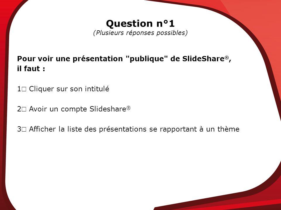 Question n°1 (Plusieurs réponses possibles) Pour voir une présentation publique de SlideShare ®, il faut : 1 Cliquer sur son intitulé 2 Avoir un compte Slideshare ® 3 Afficher la liste des présentations se rapportant à un thème