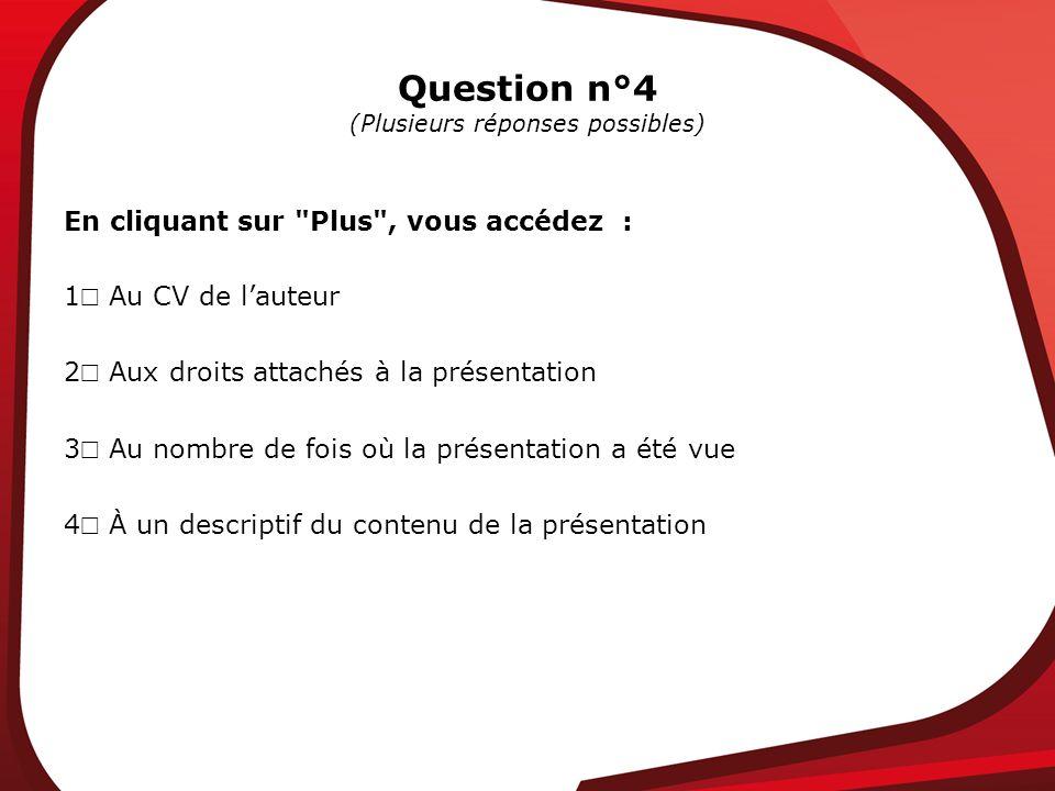 Question n°4 (Plusieurs réponses possibles) En cliquant sur Plus , vous accédez : 1 Au CV de lauteur 2 Aux droits attachés à la présentation 3 Au nombre de fois où la présentation a été vue 4 À un descriptif du contenu de la présentation
