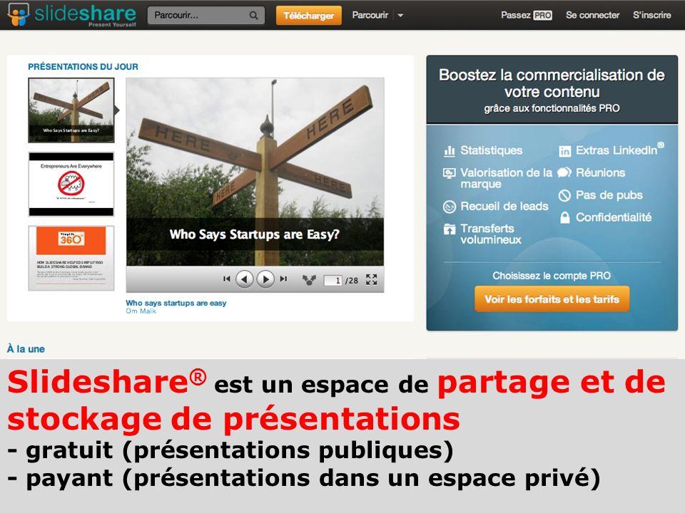 Slideshare ® est un espace de partage et de stockage de présentations - gratuit (présentations publiques) - payant (présentations dans un espace privé
