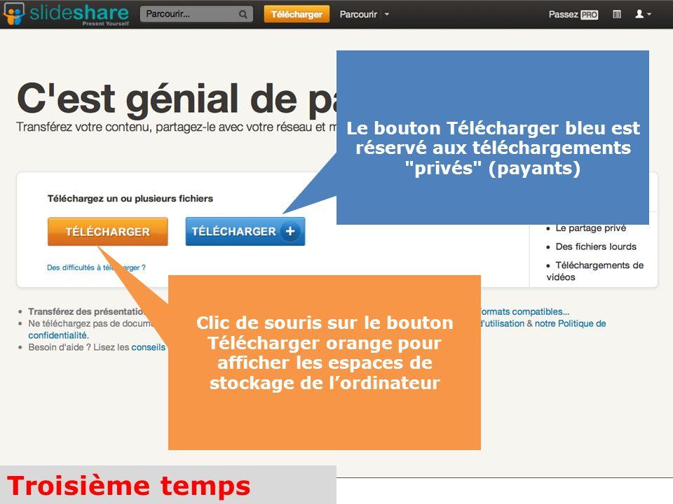 Troisième temps Clic de souris sur le bouton Télécharger orange pour afficher les espaces de stockage de lordinateur Le bouton Télécharger bleu est réservé aux téléchargements privés (payants)