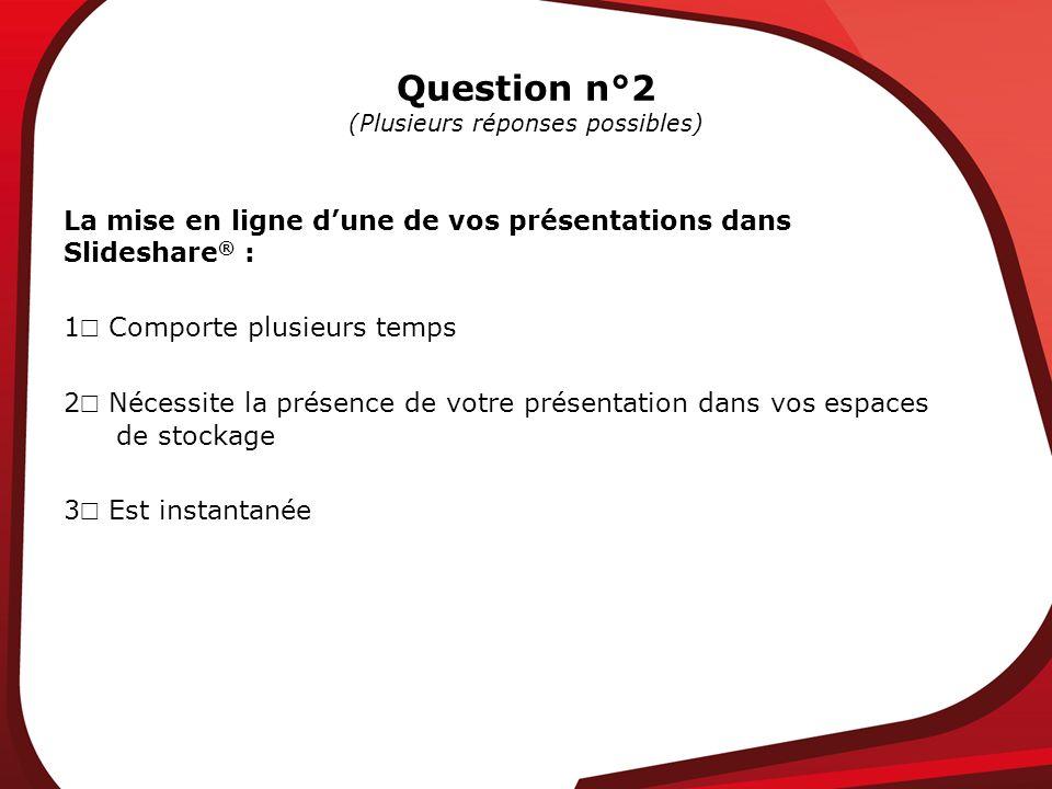 Question n°2 (Plusieurs réponses possibles) La mise en ligne dune de vos présentations dans Slideshare ® : 1 Comporte plusieurs temps 2 Nécessite la p