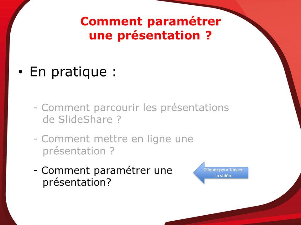 Cliquez pour lancer la vidéo Comment paramétrer une présentation ? En pratique : - Comment parcourir les présentations de SlideShare ? - Comment mettr