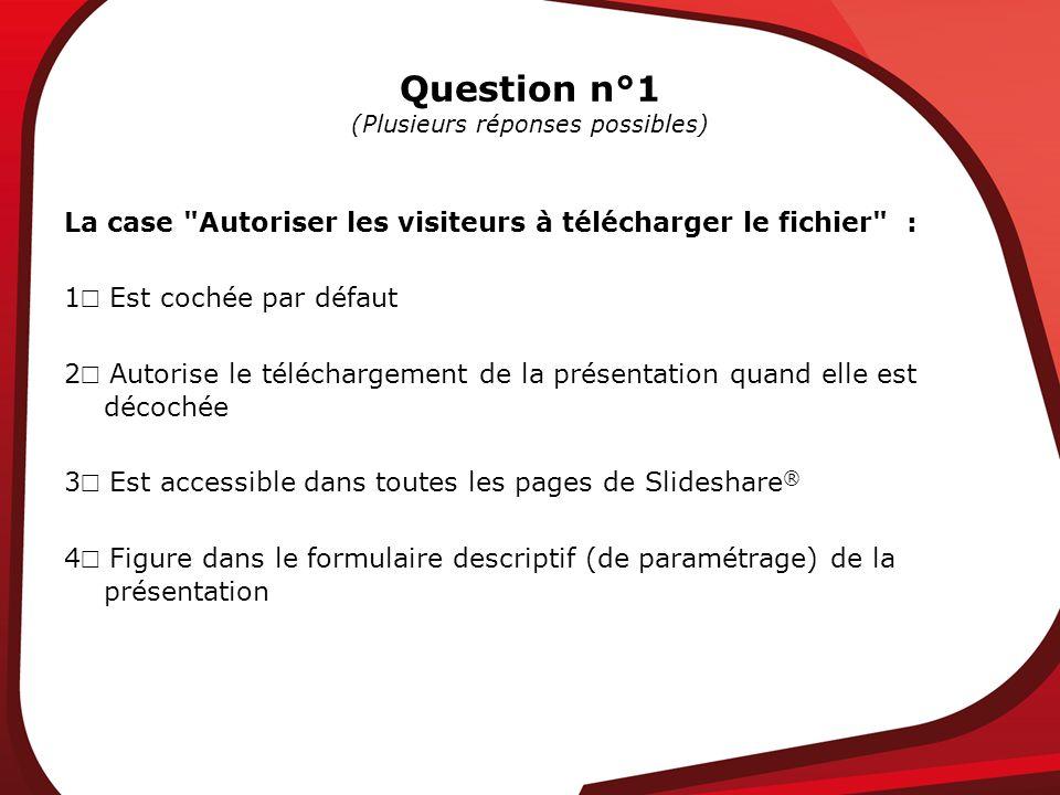 Question n°1 (Plusieurs réponses possibles) La case Autoriser les visiteurs à télécharger le fichier : 1 Est cochée par défaut 2 Autorise le téléchargement de la présentation quand elle est décochée 3 Est accessible dans toutes les pages de Slideshare ® 4 Figure dans le formulaire descriptif (de paramétrage) de la présentation