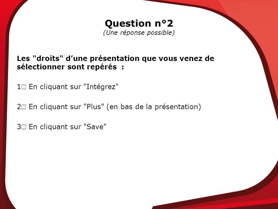 Question n°2 (Une réponse possible) Les droits dune présentation que vous venez de sélectionner sont repérés : 1 En cliquant sur Intégrez 2 En cliquant sur Plus (en bas de la présentation) 3 En cliquant sur Save