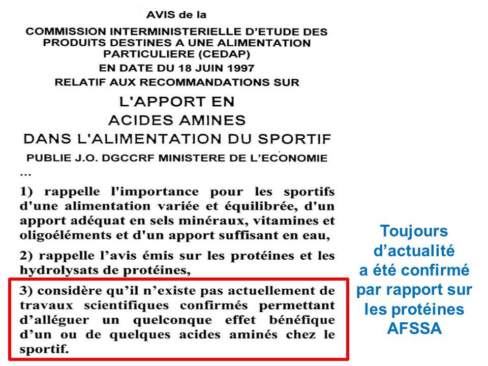 Toujours dactualité a été confirmé par rapport sur les protéines AFSSA