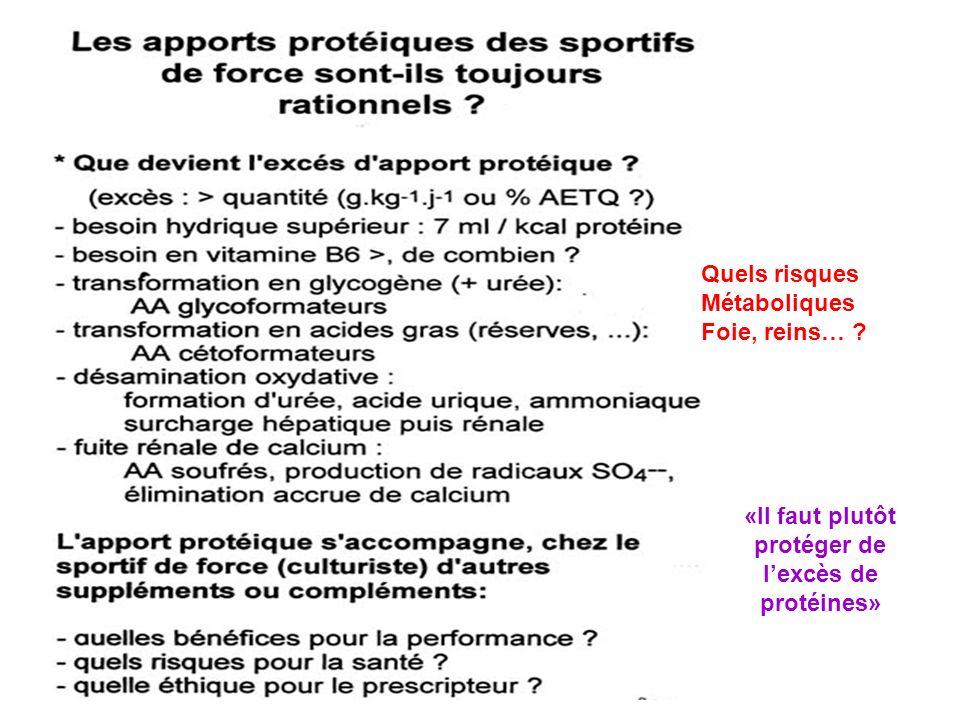 Quels risques Métaboliques Foie, reins… ? «Il faut plutôt protéger de lexcès de protéines»