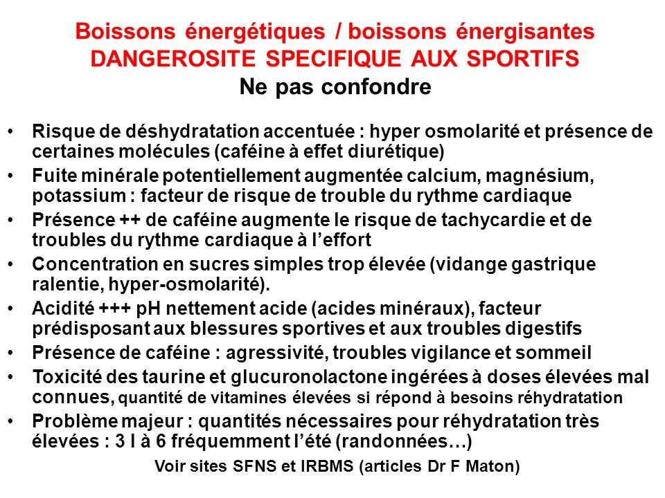 Boissons énergétiques / boissons énergisantes DANGEROSITE SPECIFIQUE AUX SPORTIFS Ne pas confondre Risque de déshydratation accentuée : hyper osmolari