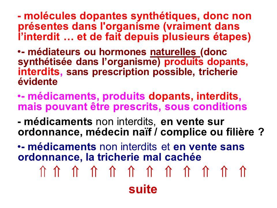 - molécules dopantes synthétiques, donc non présentes dans l'organisme (vraiment dans linterdit … et de fait depuis plusieurs étapes) - médiateurs ou