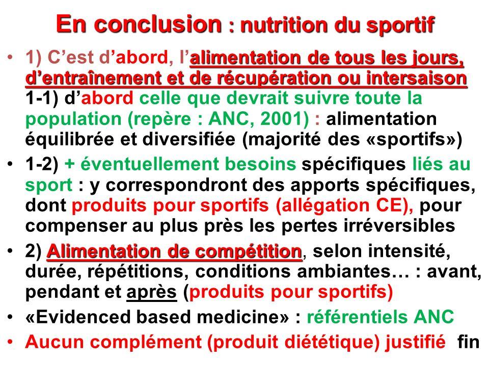 En conclusion : nutrition du sportif alimentation de tous les jours, dentraînement et de récupération ou intersaison1) Cest dabord, lalimentation de t