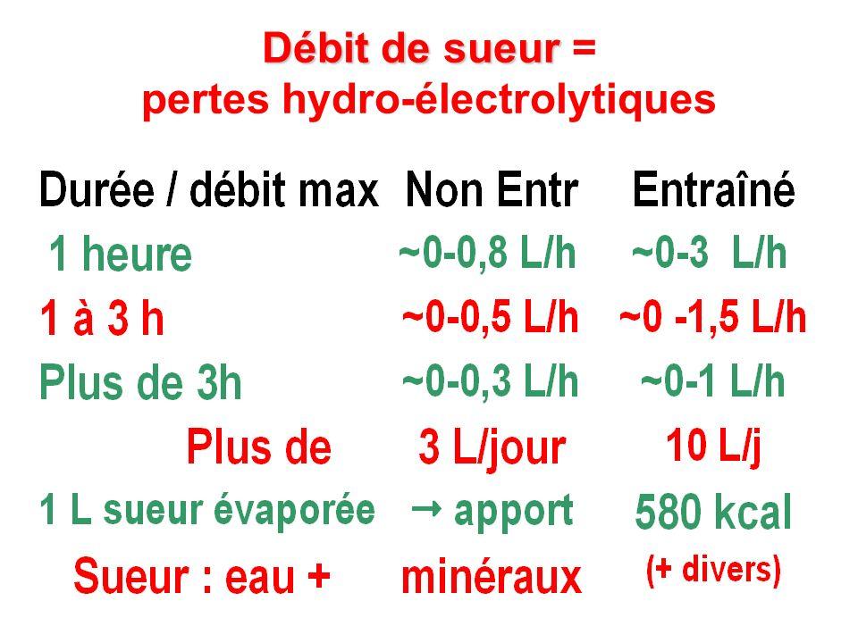 Débit de sueur Débit de sueur = pertes hydro-électrolytiques