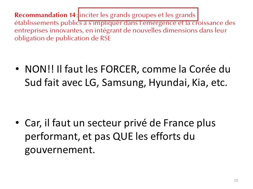 NON!! Il faut les FORCER, comme la Corée du Sud fait avec LG, Samsung, Hyundai, Kia, etc. Car, il faut un secteur privé de France plus performant, et
