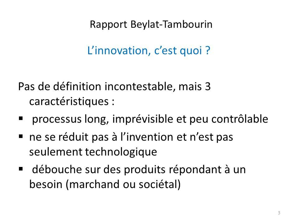 Rapport Beylat-Tambourin Linnovation, cest quoi ? Pas de définition incontestable, mais 3 caractéristiques : processus long, imprévisible et peu contr