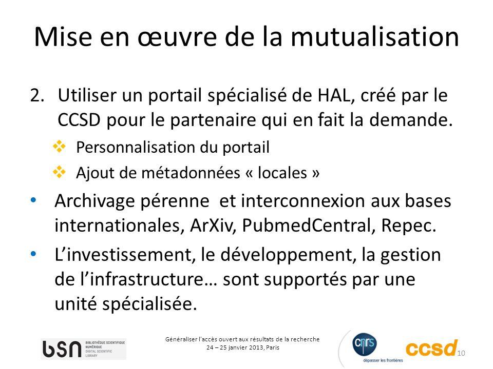 10 Généraliser laccès ouvert aux résultats de la recherche 24 – 25 janvier 2013, Paris Mise en œuvre de la mutualisation 2.Utiliser un portail spécialisé de HAL, créé par le CCSD pour le partenaire qui en fait la demande.