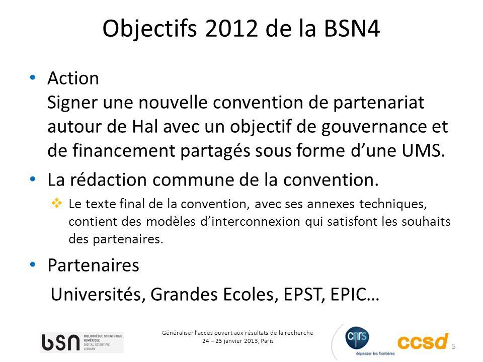 5 Généraliser laccès ouvert aux résultats de la recherche 24 – 25 janvier 2013, Paris Objectifs 2012 de la BSN4 Action Signer une nouvelle convention de partenariat autour de Hal avec un objectif de gouvernance et de financement partagés sous forme dune UMS.