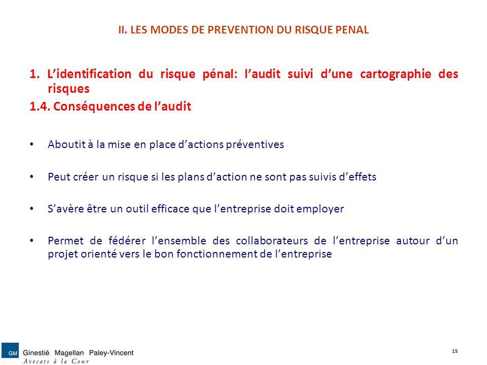II. LES MODES DE PREVENTION DU RISQUE PENAL 1. Lidentification du risque pénal: laudit suivi dune cartographie des risques 1.4. Conséquences de laudit