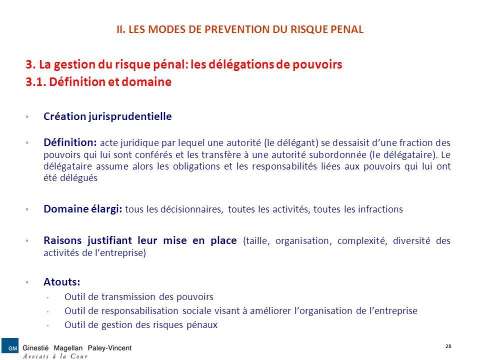 II. LES MODES DE PREVENTION DU RISQUE PENAL 3. La gestion du risque pénal: les délégations de pouvoirs 3.1. Définition et domaine Création jurispruden