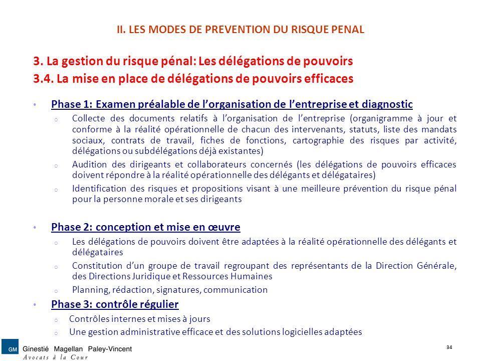 II. LES MODES DE PREVENTION DU RISQUE PENAL 3. La gestion du risque pénal: Les délégations de pouvoirs 3.4. La mise en place de délégations de pouvoir