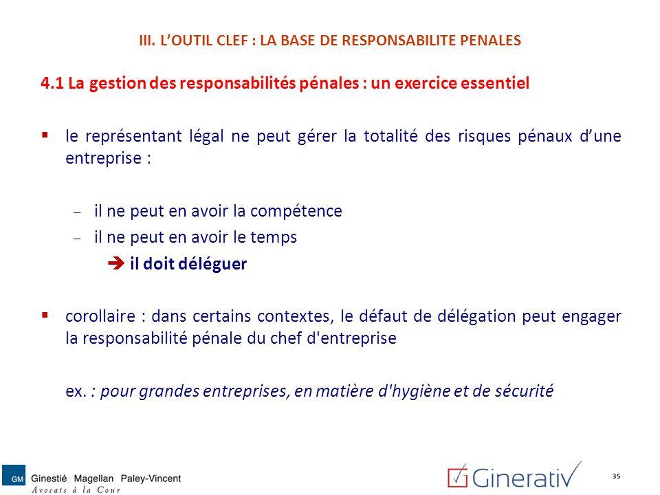 4.1 La gestion des responsabilités pénales : un exercice essentiel le représentant légal ne peut gérer la totalité des risques pénaux dune entreprise