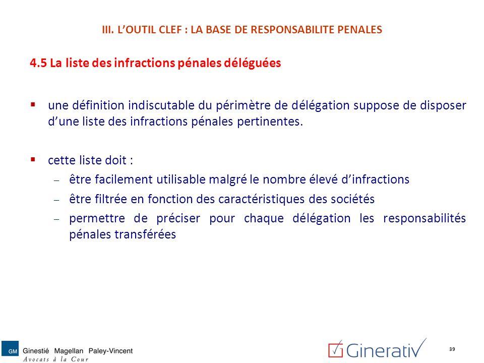 4.5 La liste des infractions pénales déléguées une définition indiscutable du périmètre de délégation suppose de disposer dune liste des infractions p