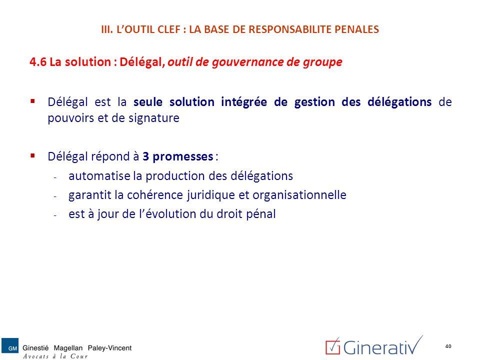 4.6 La solution : Délégal, outil de gouvernance de groupe Délégal est la seule solution intégrée de gestion des délégations de pouvoirs et de signatur