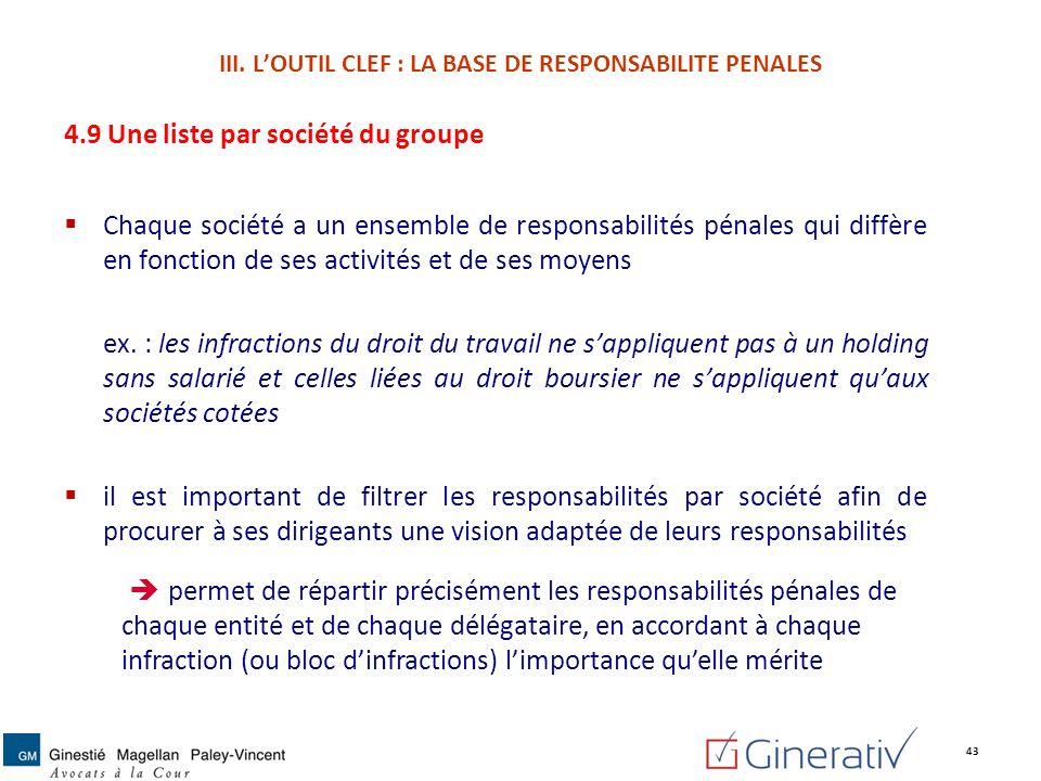 4.9 Une liste par société du groupe Chaque société a un ensemble de responsabilités pénales qui diffère en fonction de ses activités et de ses moyens