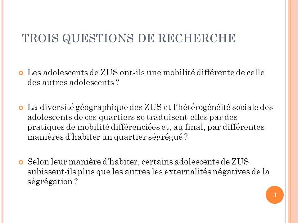TROIS QUESTIONS DE RECHERCHE Les adolescents de ZUS ont-ils une mobilité différente de celle des autres adolescents .