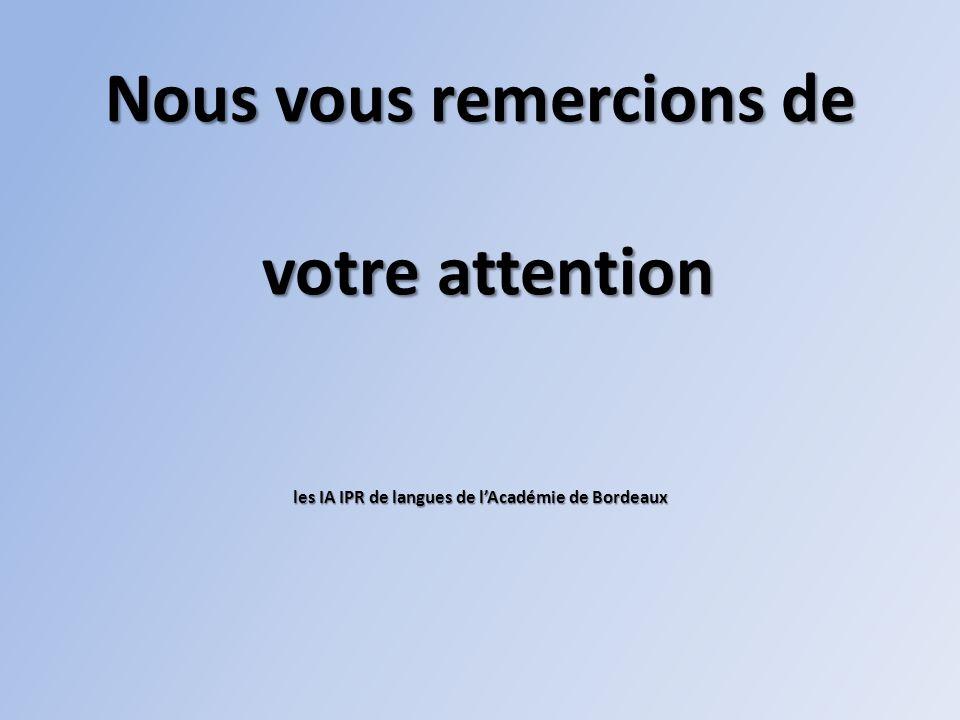 Nous vous remercions de votre attention les IA IPR de langues de lAcadémie de Bordeaux