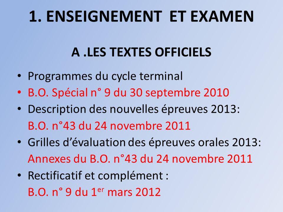 1.ENSEIGNEMENT ET EXAMEN A.LES TEXTES OFFICIELS Programmes du cycle terminal B.O.