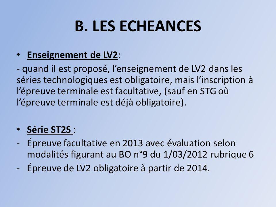B. LES ECHEANCES Enseignement de LV2: - quand il est proposé, lenseignement de LV2 dans les séries technologiques est obligatoire, mais linscription à