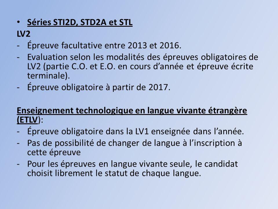 Séries STI2D, STD2A et STL LV2 -Épreuve facultative entre 2013 et 2016.