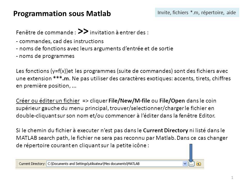 1 Programmation sous Matlab Invite, fichiers *.m, répertoire, aide Fenêtre de commande : >> invitation à entrer des : - commandes, cad des instruction