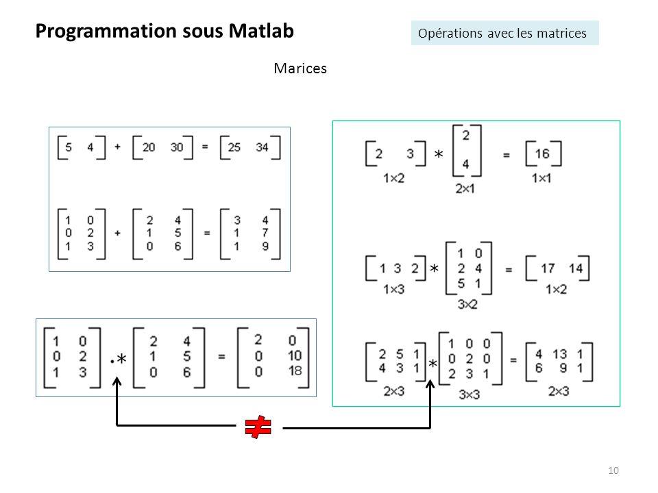 10 Programmation sous Matlab Opérations avec les matrices Marices