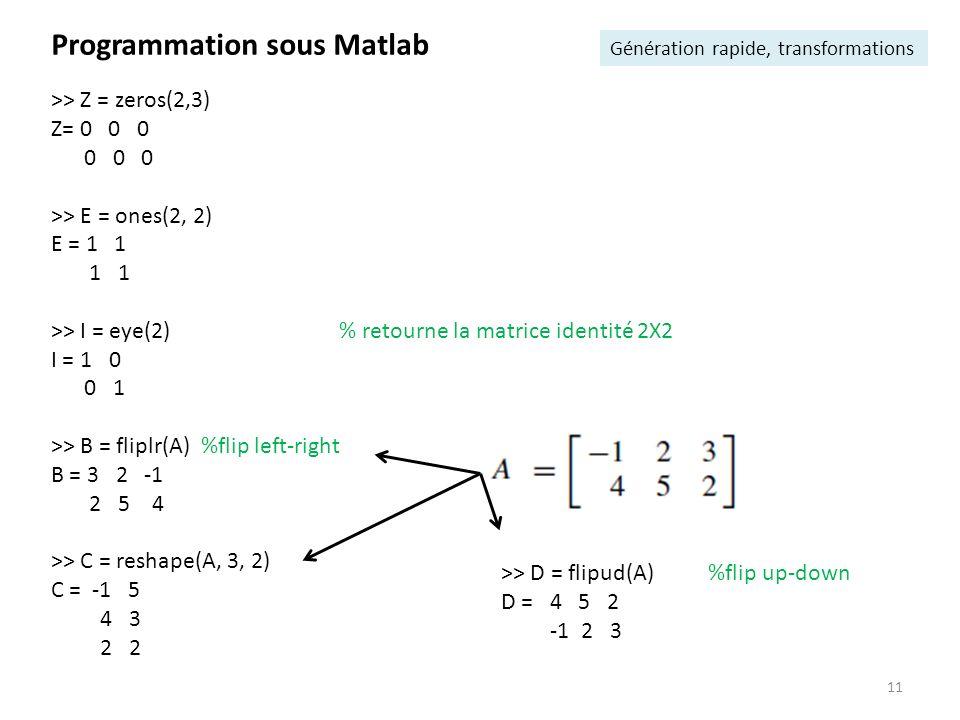 11 Programmation sous Matlab Génération rapide, transformations >> Z = zeros(2,3) Z= 0 0 0 0 0 0 >> E = ones(2, 2) E = 1 1 1 1 >> I = eye(2) % retourn