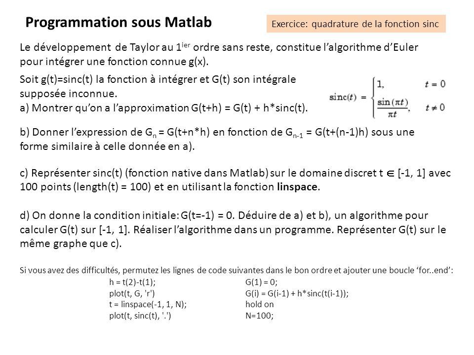 Le développement de Taylor au 1 ier ordre sans reste, constitue lalgorithme dEuler pour intégrer une fonction connue g(x). Soit g(t)=sinc(t) la foncti