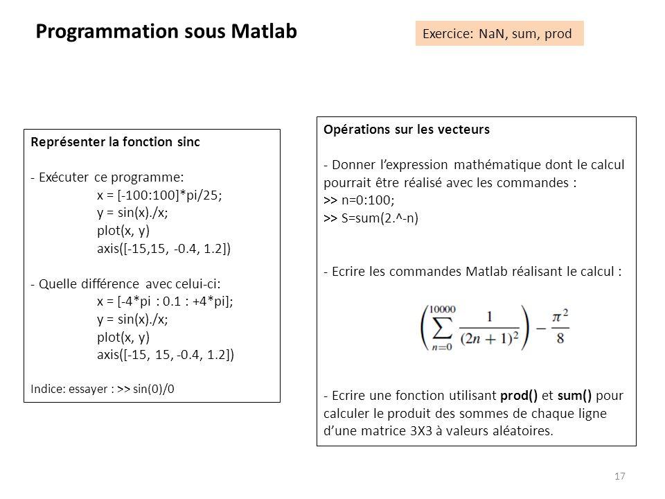 17 Programmation sous Matlab Exercice: NaN, sum, prod Représenter la fonction sinc - Exécuter ce programme: x = [-100:100]*pi/25; y = sin(x)./x; plot(