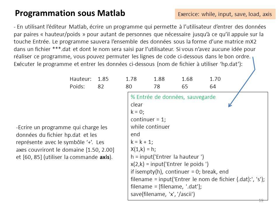 19 Programmation sous Matlab Exercice: while, input, save, load, axis - En utilisant léditeur Matlab, écrire un programme qui permette à lutilisateur