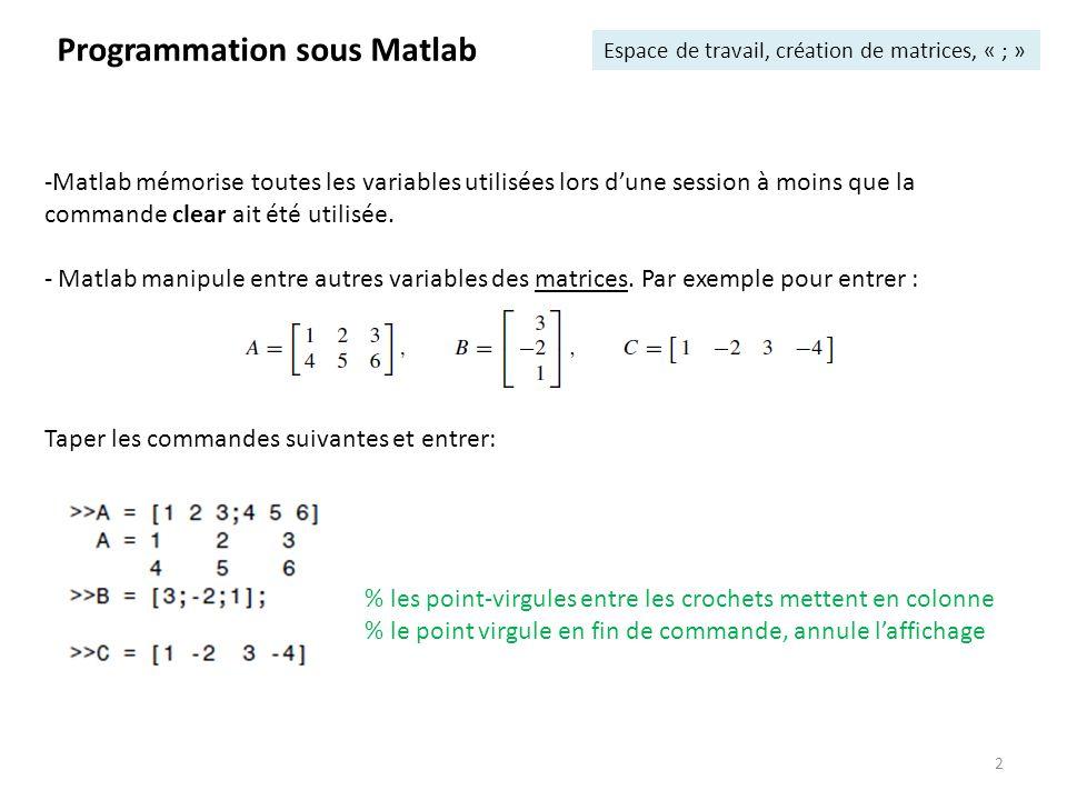 2 Programmation sous Matlab Espace de travail, création de matrices, « ; » -Matlab mémorise toutes les variables utilisées lors dune session à moins q