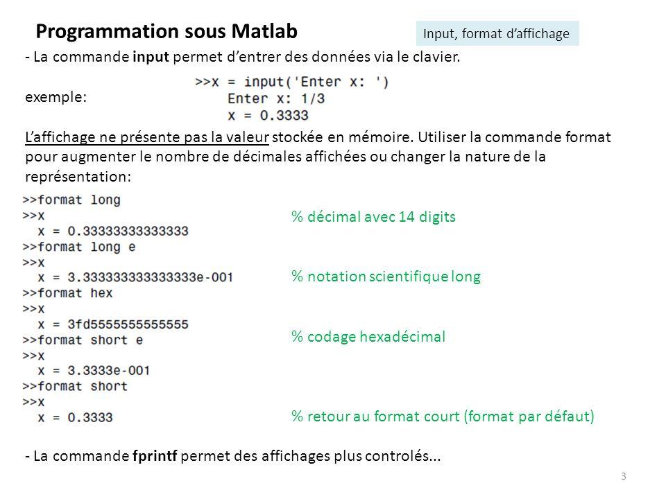 3 Programmation sous Matlab Input, format daffichage - La commande input permet dentrer des données via le clavier. exemple: Laffichage ne présente pa