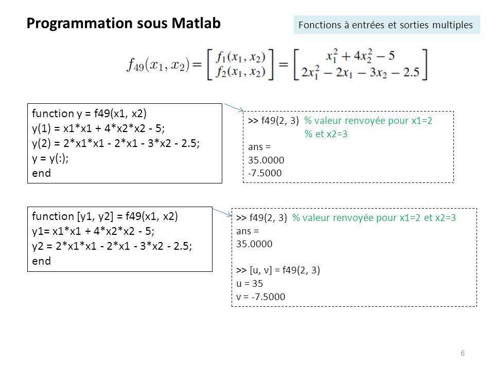 >> f49 = @(x1, x2) [x1*x1 + 4*x2*x2 - 5; 2*x1*x1 - 2*x1 - 3*x2 - 2.5]; >> f49(1, 2) ans = 12.0000 -8.5000 >> a = 1; b = 2; c = 3; % passage de paramétres >> parabole = @(x) a*x.^2 + b*x + c; >> ezplot(parabole, [-5, 5]) Programmation sous Matlab Fonctions « anonymes » fonction R R : >> f1 = @(x) 1./(1 + 8*x.^2); % création de la «poignée de fonction» f1 (EN: handle) >> f1(1/sqrt(8)) ans = 0.5000 fonction R 2 R 2 :