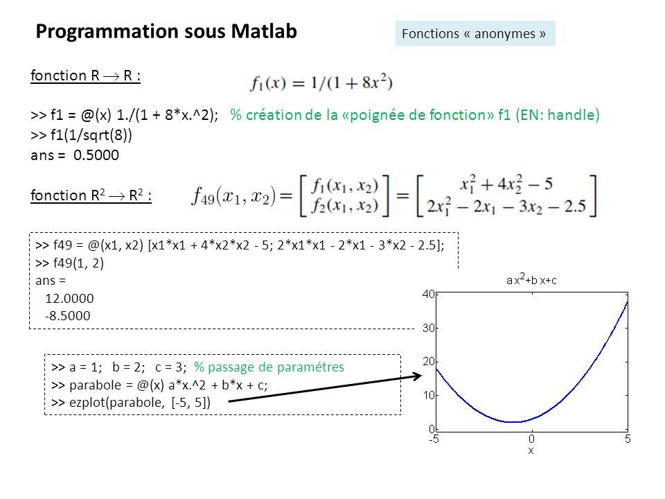 8 Programmation sous Matlab Polyval, indexation des matrices - Pour calculer rapidement les valeurs dune fonction polynomiale, on la définit simplement par ses coefficients rangés par ordre décroissant: >> p = [1 0 -3 2]; % fonction polynomiale p(x) = 1x 3 + 0x 2 3x + 2 >> polyval (p, [-1 0 1 2 3 4 5]) ans = 4 2 0 4 20 54 112 -Manipulation de matrices: >> A = [1 2 3; 4 5 6], B = [3; -2; 1] >> A = [A; 7 8 9] % [..]=concaténation A = 1 2 3 4 5 6 7 8 9 >> B = [B, [1, 0, -1]] % le prime transpose (ligne => colonne) B = 3 1 -2 0 1 -1 >> A(3,3) = 0 A= 1 2 3 4 5 6 7 8 0 >> A(2:3, 1:2) % lignes 2 à 3 et colonne 1 à 2 ans = 4 5 7 8 >> A(2, :) % 2 ieme ligne, toutes les colonnes ans = 4 5 6