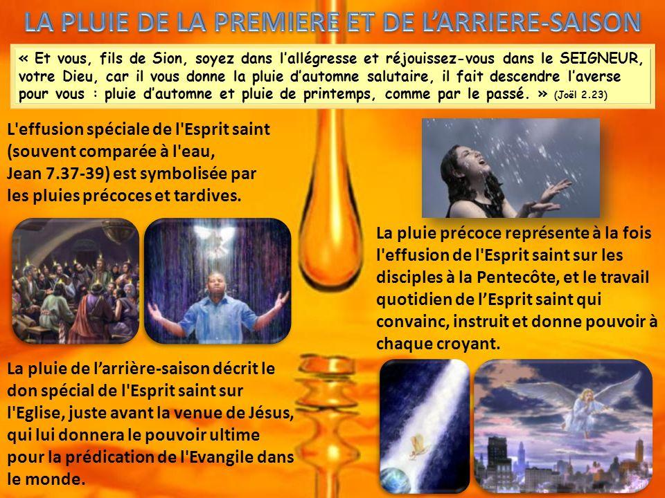 « Et vous, fils de Sion, soyez dans lallégresse et réjouissez-vous dans le SEIGNEUR, votre Dieu, car il vous donne la pluie dautomne salutaire, il fait descendre laverse pour vous : pluie dautomne et pluie de printemps, comme par le passé.