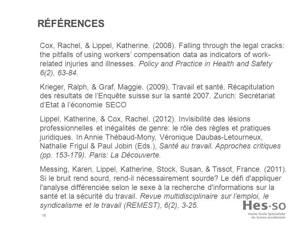 15 RÉFÉRENCES Cox, Rachel, & Lippel, Katherine.(2008).